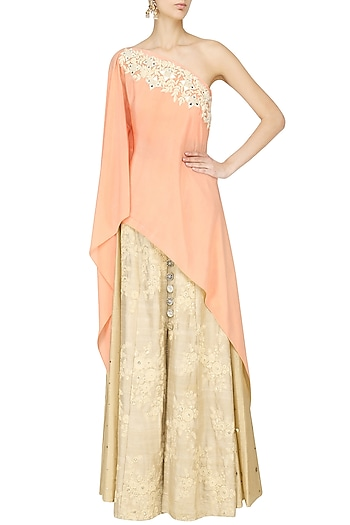 Peach Embroidered Shoulder Cape Skirt Set