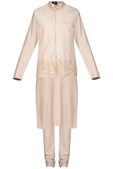 Champagne Gold Kurta Set With Embroidered Waistcoat by Prathyusha Garimella Men