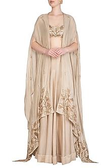 Champagne Gold Embroidered Lehenga Skirt With Blouse & Cape by Prathyusha Garimella