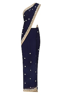 Navy Blue Stones Embroidered Saree with Black Blouse by Amota by Priti Sahni