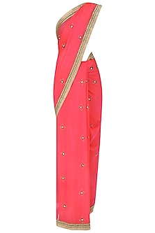 Fuschia Pink Sequins Embroidered Saree with Copper Shimmer Blouse