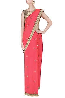 Fuschia Pink Sequins Embroidered Saree with Copper Shimmer Blouse by Amota by Priti Sahni