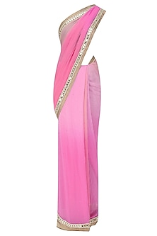 Peach Pink Mirror Work Ombre Shaded Saree with Copper Cutwork Blouse by Amota by Priti Sahni