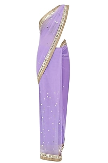 Lilac Mirror Embroidered Saree with Copper Cutwork Blouse