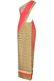 Neon Pink And Gold Scalloped Pattern Sequinned Saree With Mirror Work Embedded Golden Blouse