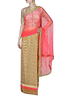 Neon Pink And Gold Scalloped Pattern Sequinned Saree With Mirror Work Embedded Golden Blouse by Amota by Priti Sahni