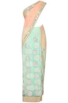 Peach And Apple Green Kundan And Mirror Work Embellished Saree With Light Gold Mirror Work Embedded Blouse