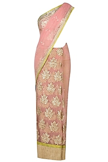 Blush Pink Zari Hand Embroidered Bootis Applique Saree With Golden Sequinned Blouse by Amota by Priti Sahni