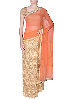 Orange And Gold Zardozi Hand Embroidered Saree With Copper Gold Crochet Cut-Work Blouse by Amota by Priti Sahni
