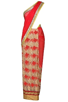 Coral And Gold Zardozi Thread Work Bootis Applique Sequinned Saree With Golden Mirror Work Embedded Blouse