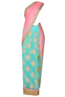 Peach And Sea Green Zardozi Thread Work Bootis Applique Sequinned Saree With Onion Pink Kundan And Pearl Work Embedded Blouse