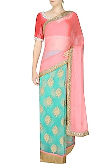 Peach And Sea Green Zardozi Thread Work Bootis Applique Sequinned Saree With Onion Pink Kundan And Pearl Work Embedded Blouse by Amota by Priti Sahni