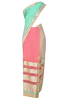 Peach And Mint Green Horizontal Striped Sheer Saree With Onion Pink Kundan And Pearl Work Embedded Blouse