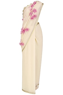 Pale Taupe 3D Tulle Flowers Saree and Blouse Set
