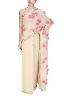 Pale Taupe 3D Tulle Flowers Saree and Blouse Set by Priyanka Raajiv