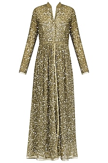 Gold Sequins Embroidered Pleated Jacket
