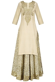 Beige Stone Embroidered Kurta and Chanderi Lehenga Set