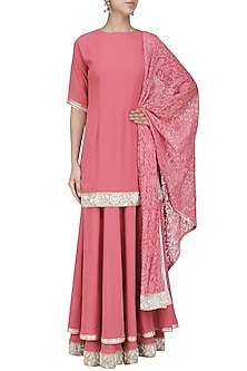Salmon Pink Nakshi Embroidered Kurta and Lehenga Set by Priyanka Raajiv