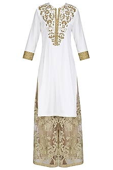Ivory Aari Work Kurta and Sharara Pants Set