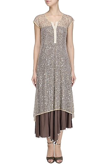 Gold and Brown Asymmetrical Sequined Tunic by Priyanka Raajiv