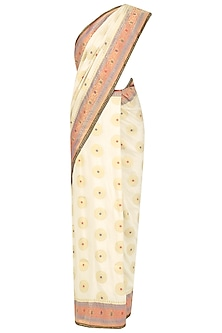 Ivory Brocade Silk Saree