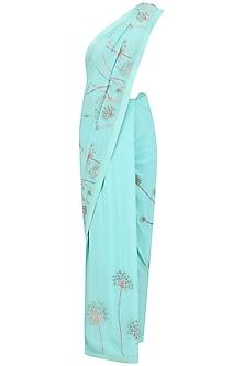 Aquamarine Beads and Resham Embroidered Saree by Priyanka Raajiv