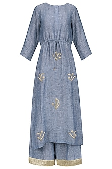 Blue Aari Work Kurta and Palazzo Pants Set