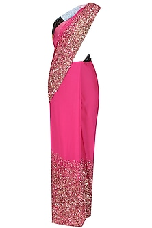 Pink Sequins Embroidered Saree