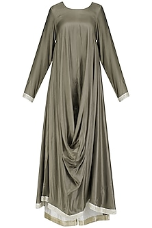 Taupe Cowl Drape Kurta and Palazzo Pants Set