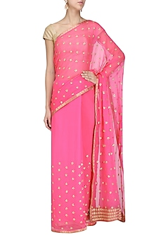 Pink Gota Work Saree by Priyanka Raajiv