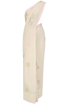 Beige Sequins and Applique Work Saree by Priyanka Raajiv