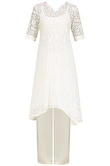 Ivory Chikankari Kurta Set with Peach Dupatta