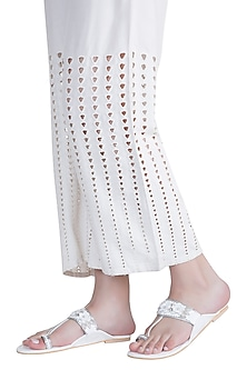 White & Silver Sequins & Stone Hand Embroidered Kolhapuri Flats by Preet Kaur
