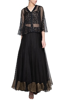 Black embroidered lehenga set with jacket by Priyam Narayan