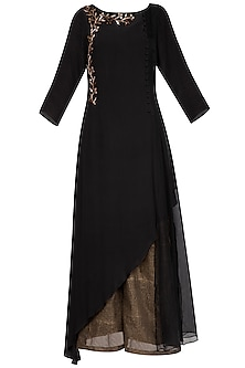Black embroidered long kurta with pants
