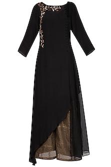 Black embroidered long kurta with pants by Priyam Narayan