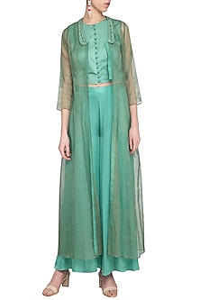 Frozen blue embroidered printed crop top with pants and jacket by Priyam Narayan