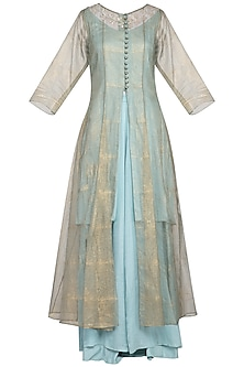 Powder blue embroidered kurta with palazzo pants and jacket