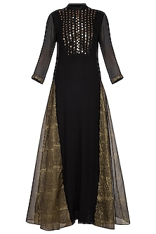 Black embroidered chiffon kurta with pants