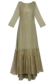 Sage green embroidered printed kurta with palazzo pants