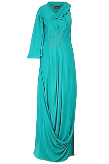Turquoise Mukaish Work Pleated Gown