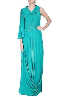 Turquoise Mukaish Work Pleated Gown by Priyam Narayan