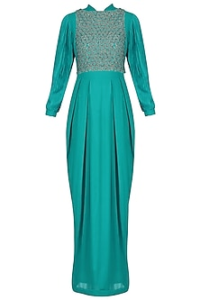 Turquoise Blue Balloon Sleeves Gown with Embroidered Crop Top