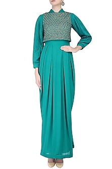 Turquoise Blue Balloon Sleeves Gown with Embroidered Crop Top by Priyam Narayan