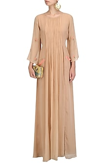 Beige Floral Embroidered Maxi Dress by Priyam Narayan