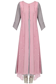 Pink Anchor Thread Floral Embroidered Kurta Set