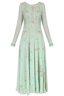 Green Floral Embroidered Anarkali Set