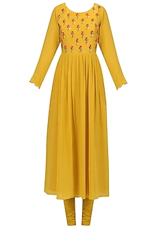 Yellow Floral Embroidered Anarkali Set