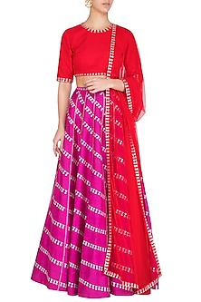 Purple Embroidered Sequins Lehenga Set by Priyal Prakash