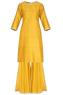 Mustard Embroidered Gharara Set